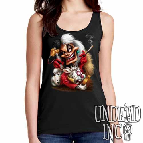 Villains Cruella De Vil Tattooing White Rabbit - Ladies Singlet Tank