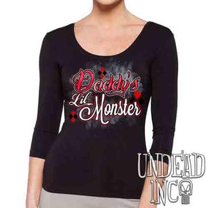 Harley Quinn Daddy's Lil Monster - Ladies 3/4 Long Sleeve Tee