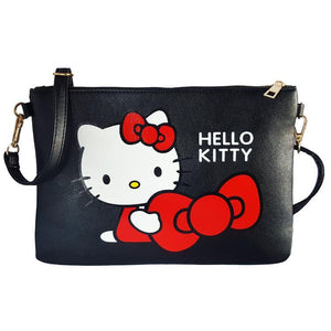 Hello Kitty Black Bow Pu Leather Cross Body / Shoulder Bag