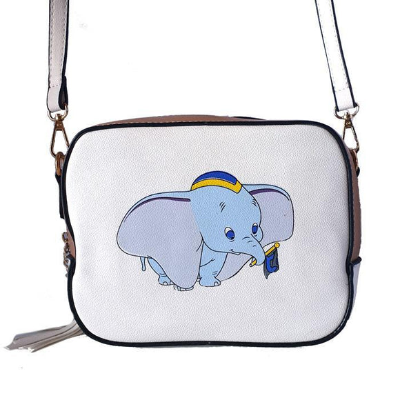 Dumbo White PU Leather Shoulder / Cross Body Bag