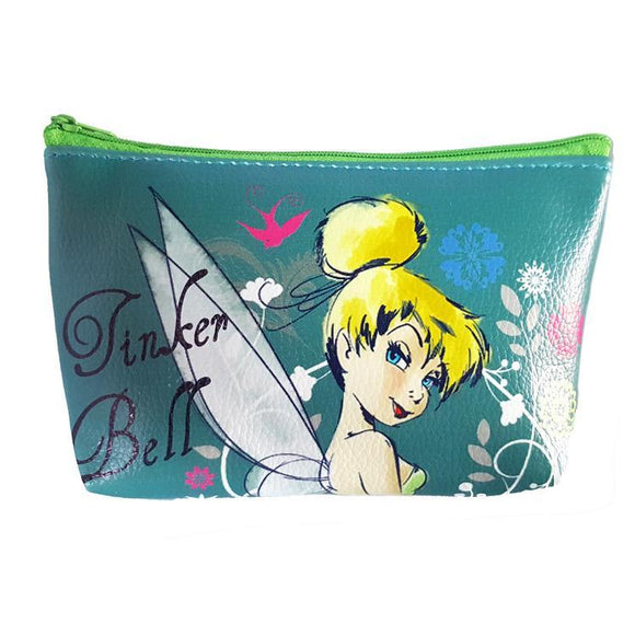 Tinkerbell Teal Pu Leather Makeup Cosmetics Bag