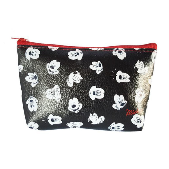 Mickey Mouse Faces Pu Leather Makeup Cosmetics Bag