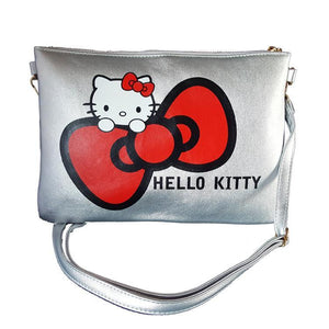 Hello Kitty Bow Metallic Silver Pu Leather Cross Body / Shoulder Bag