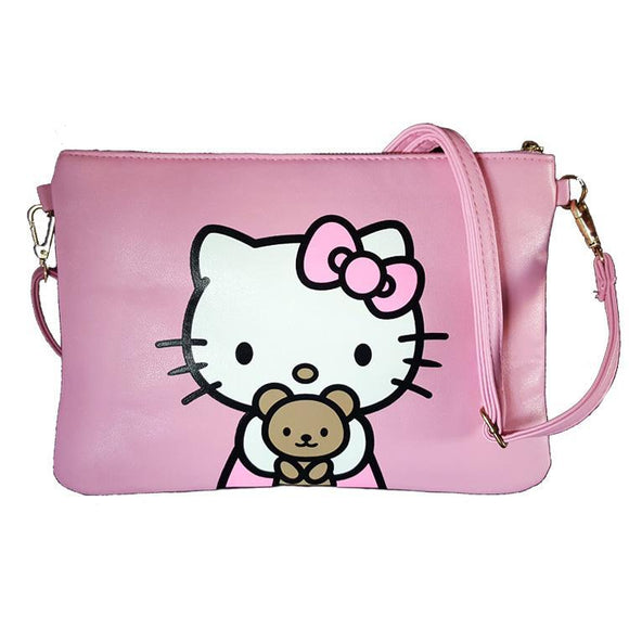 Hello Kitty Teddy Pink Pu Leather Cross Body / Shoulder Bag