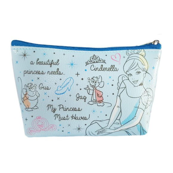 Disney Cinderella Princess Must Haves Pu Leather Makeup Cosmetics Bag - Undead Inc Cosmetics Bag,