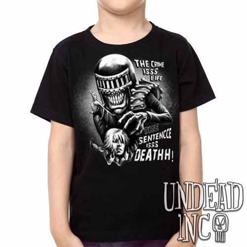Judge Death - The Crime is Life 2000 ad Dredd - Kids Unisex Girls and Boys T shirt Clothing Black Grey