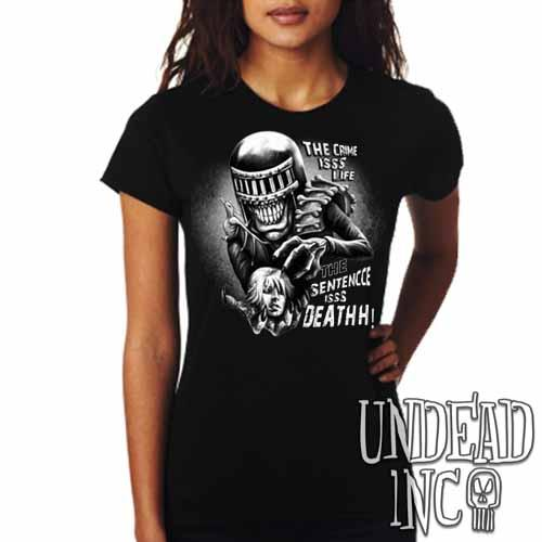 Judge Death - The Crime is Life 2000 ad Dredd - Ladies T Shirt Black Grey
