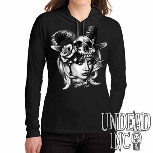 Black Grey Tattoo Art Head Hunter - Ladies Long Sleeve Hooded Shirt - Undead Inc Long Sleeve T Shirt,