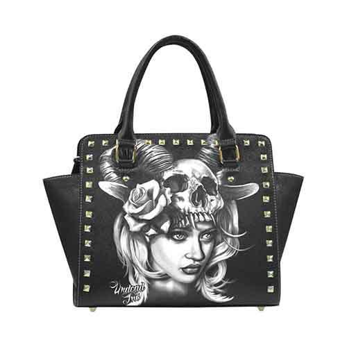 Tattoo Art Head Hunter Premium PU Leather Stud Detail Shoulder / Hand Bag
