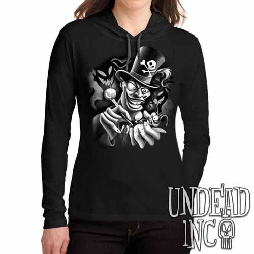 Villains Dr Facilier Voodoo Ray Black Grey Ladies Long Sleeve Hooded Shirt