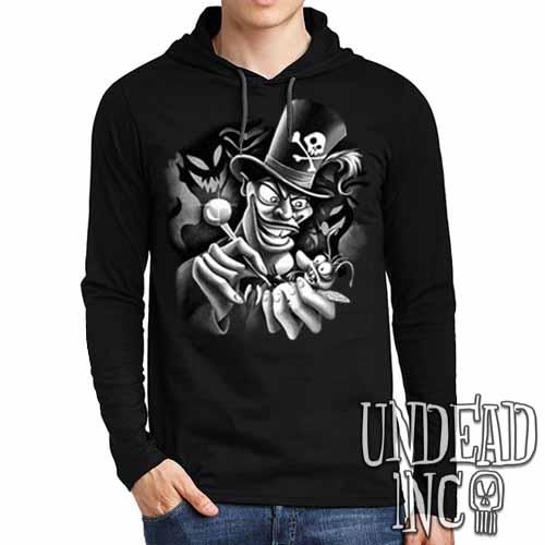 Villains Dr Facilier Voodoo Ray Black Grey Mens Long Sleeve Hooded Shirt