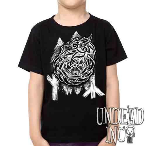 Viking Dragon Life & Death Runes - Kids Unisex Girls and Boys T shirt Kids T-shirts Undead Inc