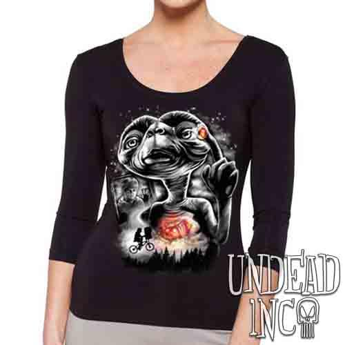 E.T Going Home Black & Grey - Ladies 3/4 Long Sleeve Tee