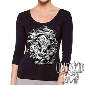Eevee Evolution Black & Grey - Ladies 3/4 Long Sleeve Tee