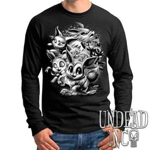 Eevee Evolution Black & Grey - Mens Long Sleeve Tee