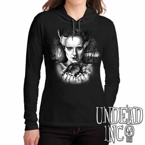 Bride Of Frankenstein Heart Black Grey Ladies Long Sleeve Hooded Shirt - Undead Inc Long Sleeve T Shirt,