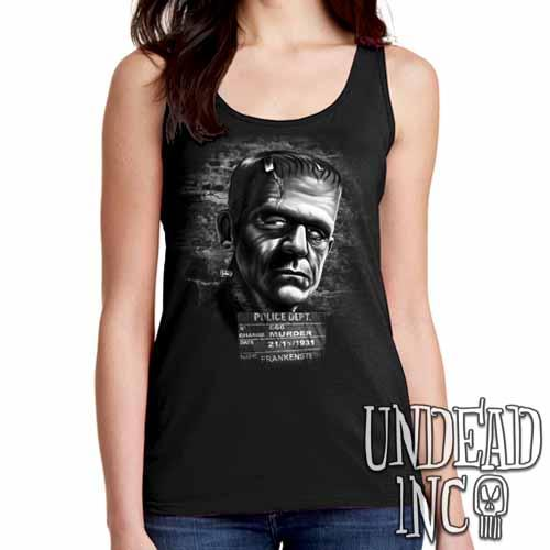 Frankenstein Mugshot - Ladies Singlet Tank BLACK GREY - Undead Inc Ladies Tank Tops,