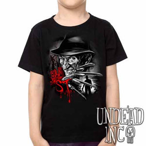 Freddy Krueger Elm ST Black Grey  Kids Unisex Girls and Boys T shirt - Undead Inc Kids T-shirts,