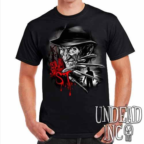 Freddy Krueger Elm ST Black Grey Mens T Shirt - Undead Inc Mens T-shirts,