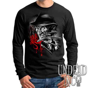 Freddy Krueger Elm ST Black & Grey - Mens Long Sleeve Tee