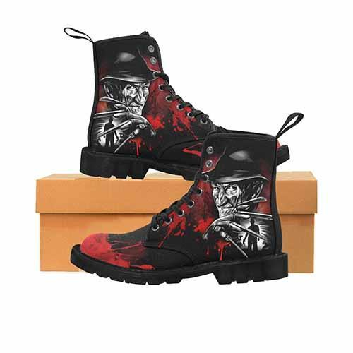 Freddy Krueger Black & Grey Variant LADIES Martin Boots - Undead Inc Womens Boots,