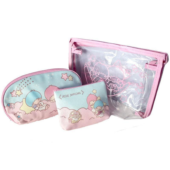 Sanrio Little Twin Stars Gemini - Hello Kitty Pu Leather Makeup Cosmetics & Travel Bag Set Of 3