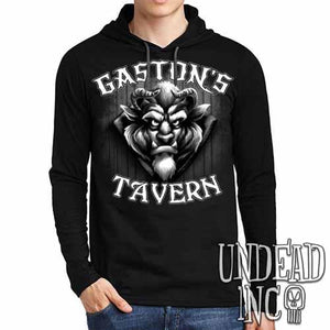 Gaston's Tavern Black & Grey  Mens Long Sleeve Hooded Shirt