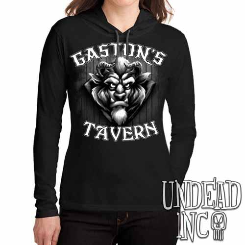 Gaston's Tavern Black & Grey Ladies Long Sleeve Hooded Shirt