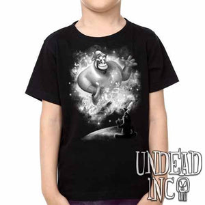 Aladdin Genie Magic Lamp Black Grey  -  Kids Unisex Girls and Boys T shirt Clothing - Undead Inc Kids T-shirts,