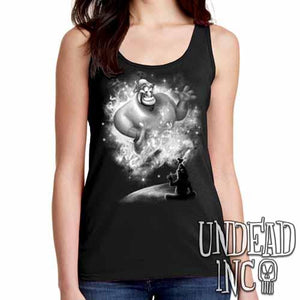 Aladdin Genie - Ladies Singlet Tank BLACK GREY - Undead Inc Ladies Tank Tops,