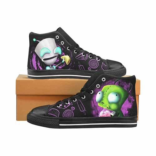 Invader Zim Gir LADIES Classic High Top Canvas Shoes - Undead Inc Women's High Top Canvas,