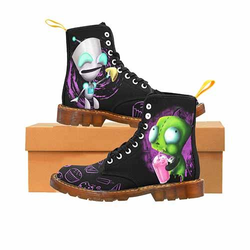 Invader Zim GIR Black MENS Martin Boots - Cupcakes Variant - Undead Inc Mens Boots,