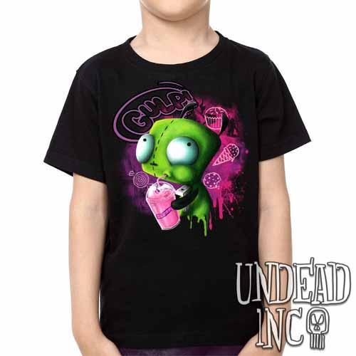 Invader Zim Gir Slurpin  - Kids Unisex Girls and Boys T shirt Clothing - Undead Inc ,