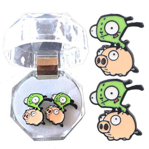 Invader Zim Gir On Pig Earrings