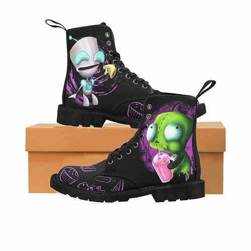 Invader Zim GIR Black MENS BLACK SOLE Martin Boots - Cupcakes Variant - Undead Inc Mens Boots,