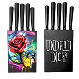 Beauty & The Beast Stained Glass Rose Undead Inc Kitchen Knife Set - Undead Inc Knife Set,