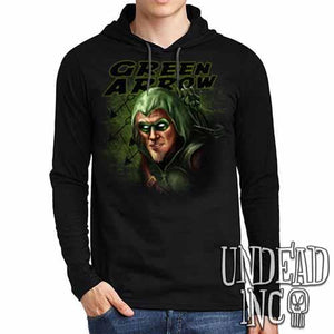 Green Arrow - Mens Long Sleeve Hooded Shirt - Undead Inc Long Sleeve T Shirt,