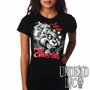 """F*#K Christmas"" Grinch - Ladies T Shirt Black Grey - Undead Inc Ladies T-shirts,"