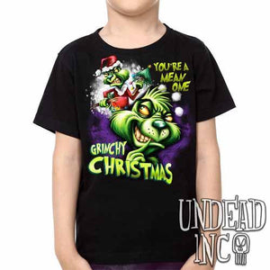 """You're a mean one"" Grinch Christmas -  Kids Unisex Girls and Boys T shirt Clothing - Undead Inc Kids T-shirts,"