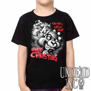 """You're a mean one"" Grinch Christmas -  Kids Unisex Girls and Boys T shirt Clothing Black Grey - Undead Inc Kids T-shirts,"