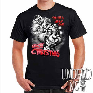 """You're a mean one"" Grinch Christmas - Mens T Shirt Black Grey - Undead Inc Mens T-shirts,"