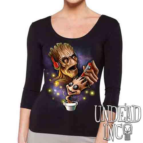 Groot Awesome Mix Tape - Ladies 3/4 Long Sleeve Tee