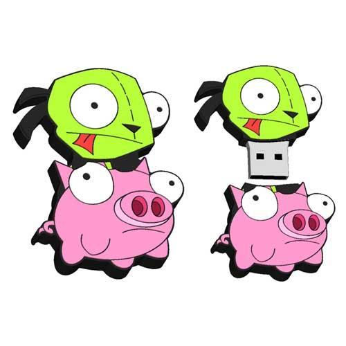 Invader Zim Gir on Pig 8GB Usb Flash Drive - Undead Inc USB,
