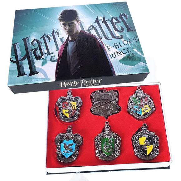 Harry Potter Hogwarts Crests Necklace & Key Chain Box Set