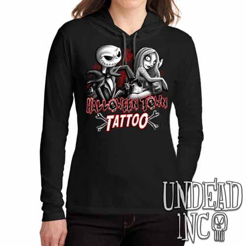 Jack and Sally Halloween Town Tattoo Black Grey Ladies Long Sleeve Hooded Shirt - Undead Inc Long Sleeve T Shirt,