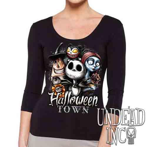 Halloween Town - Ladies 3/4 Long Sleeve Tee