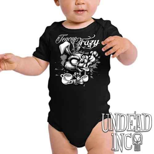 Alice In Wonderland Hare Teacup Crazy Black & Grey - Infant Onesie Romper