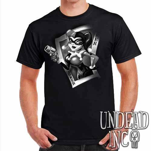 Joker Card Harley Quinn - Mens T Shirt BLACK GREY