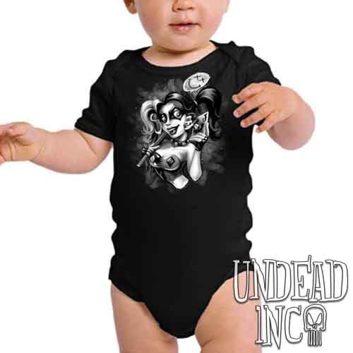 Harley Quinn Joker Kiss Black & Grey - Infant Onesie Romper