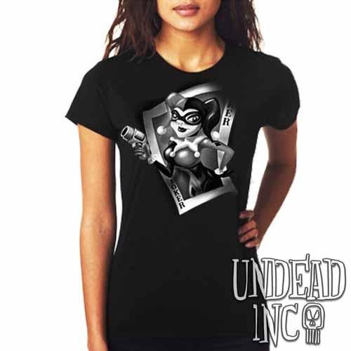 Joker Card Harley Quinn - Ladies T Shirt BLACK GREY